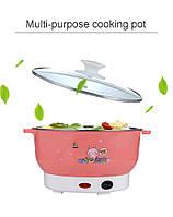 Многофункциональная мини электрокастрюля сковорода morhing  wok вок 2 литра 600 ватт бежевая