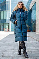 Модная зимняя куртка пальто Одри на тинсулейте 42-56 размера морская волна