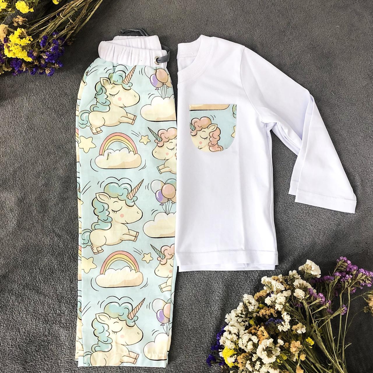 Хлопковая пижама с кофтой Единороги S