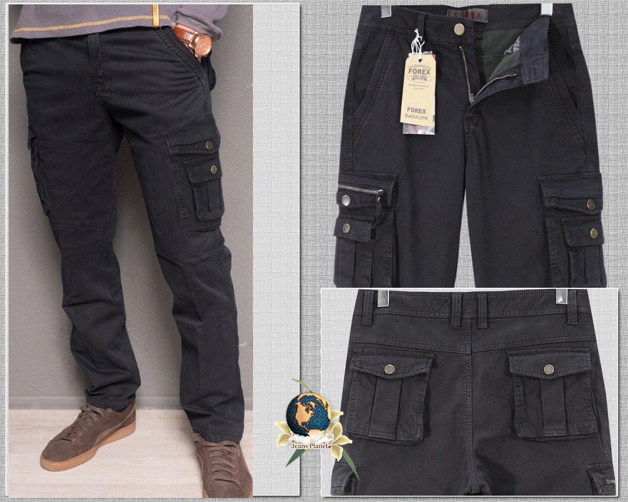 Джинсы мужские с накладными карманами осень-зима тёмно-синие Forex