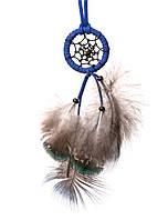 Ловец снов с пером павлина и кожанім шнурком,d-4см