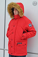 Куртка парка мужская зимняя теплая красная Canada Goose Emory ParkaКанада Гус