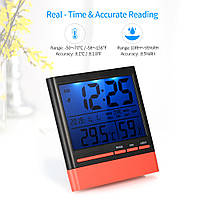 Комнатный термометр-гигрометр с подсветкой и часами, фото 1