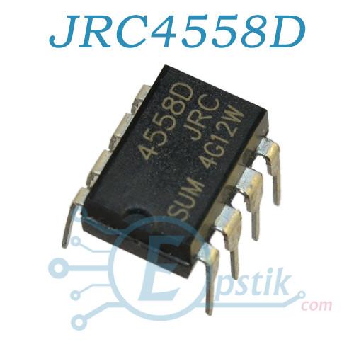 JRC4558D, двухканальный операционный усилитель, DIP8
