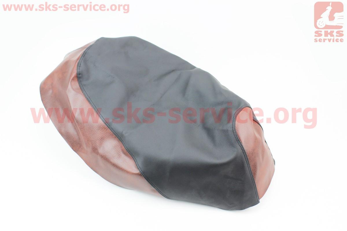 Чехол сидения Honda DIO FIT (эластичный, прочный материал) черный/коричневый на скутер