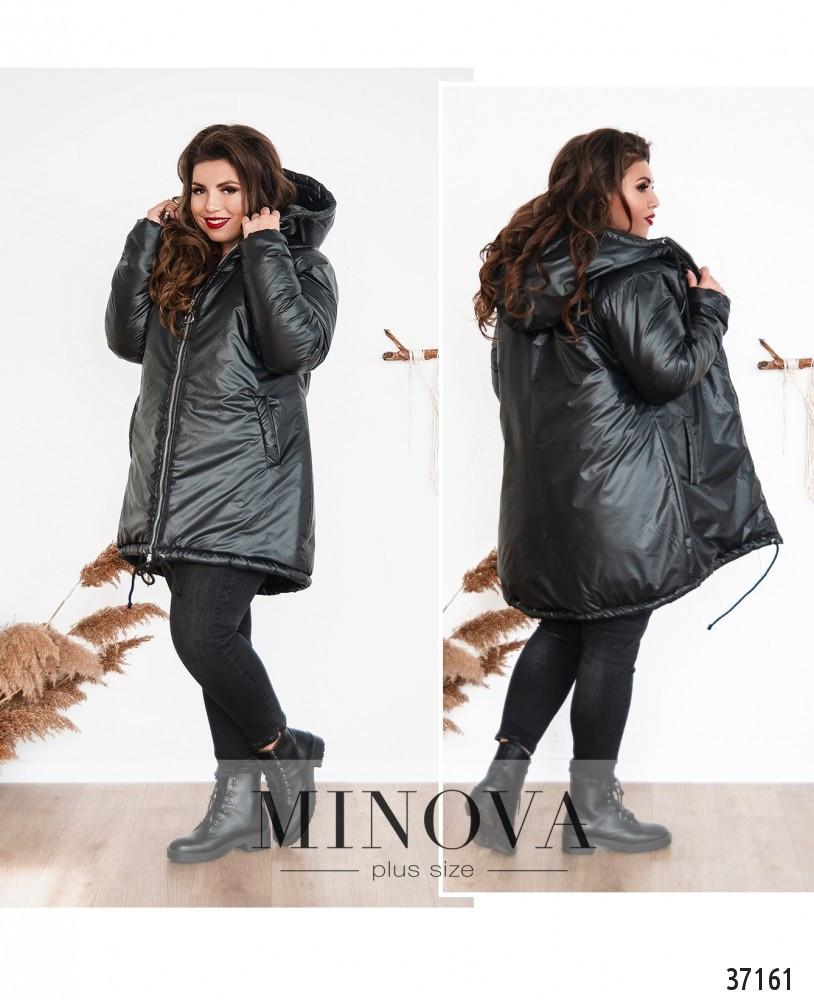 Тёплая зимняя куртка большого размера на подкладке с капюшоном р.50-52, 54-56, 58-60, 62-64 код 3296Ф