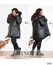 Тепла зимова куртка великого розміру на підкладці з капюшоном р. 50-52, 54-56, 58-60, 62-64 код 3296Ф