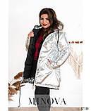 Тёплая зимняя куртка большого размера на подкладке с капюшоном р.50-52, 54-56, 58-60, 62-64 код 3296Ф, фото 5