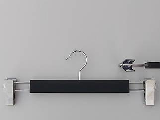 Довжина 35,5 см. Плічка тремпеля дерев'яні soft-touch чорного кольору для штанів і спідниць