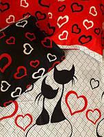 Постільний комплект Коти червоні бязь голд