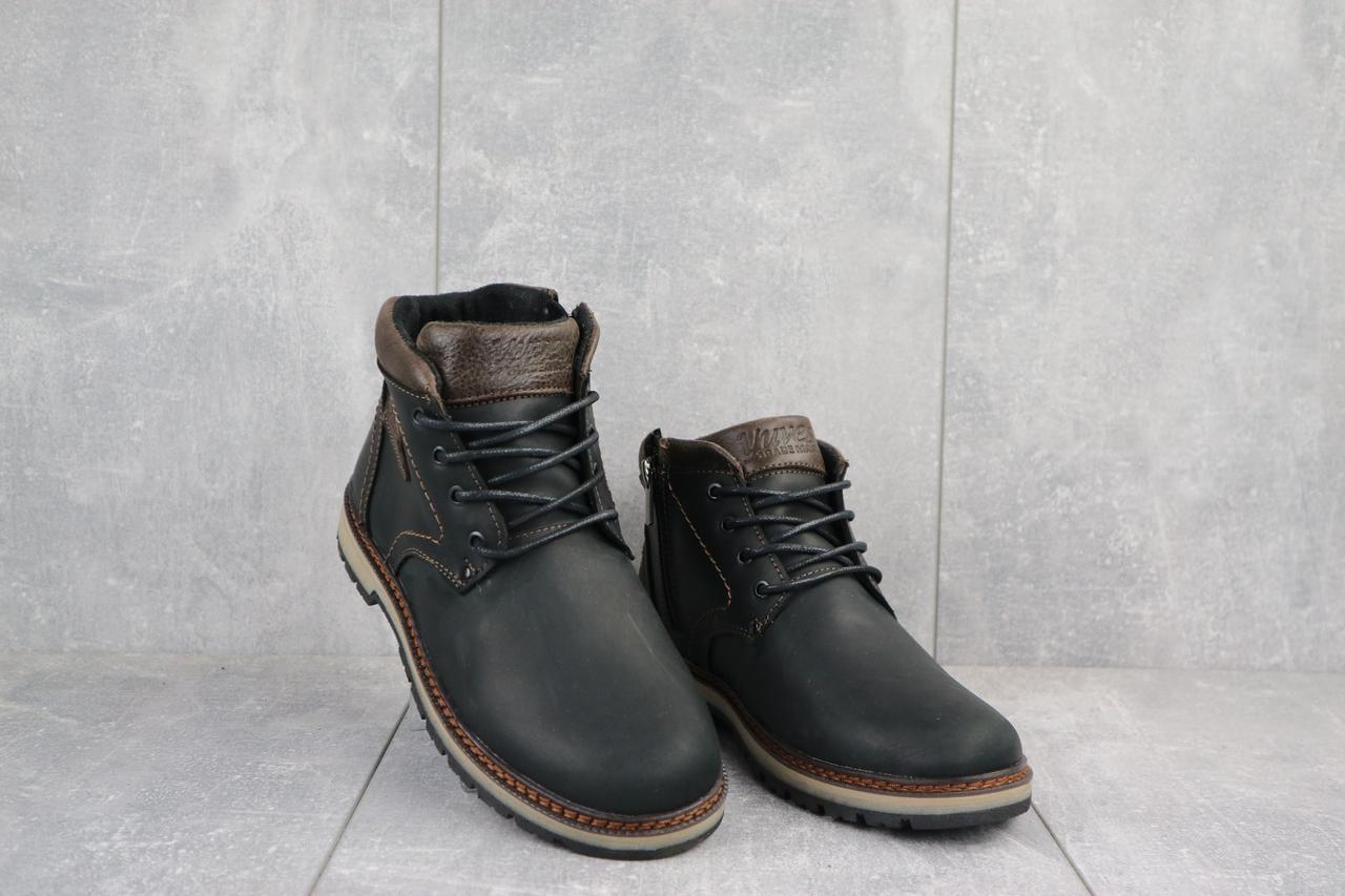 Подростковые ботинки кожаные зимние черные-матовые Yuves 784