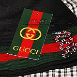 Мужской комплект набор вязаная шапка и хомут шарф Gucci черный теплый шерсть модный молодежный Гуччи реплика, фото 4