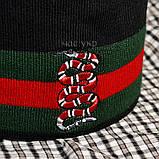 Мужской комплект набор вязаная шапка и хомут шарф Gucci черный теплый шерсть модный молодежный Гуччи реплика, фото 3