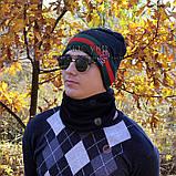 Мужской комплект набор вязаная шапка и хомут шарф Gucci черный теплый шерсть модный молодежный Гуччи реплика, фото 8
