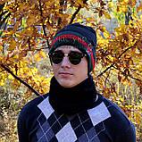 Мужской комплект набор вязаная шапка и хомут шарф Gucci черный теплый шерсть модный молодежный Гуччи реплика, фото 7
