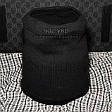 Мужской комплект набор вязаная шапка и хомут шарф Gucci черный теплый шерсть модный молодежный Гуччи реплика, фото 5