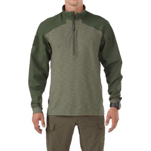 """Рубашка тактическая под бронежилет """"5.11 RAPID RESPONSE QUARTER ZIP"""", [190] TDU Green"""