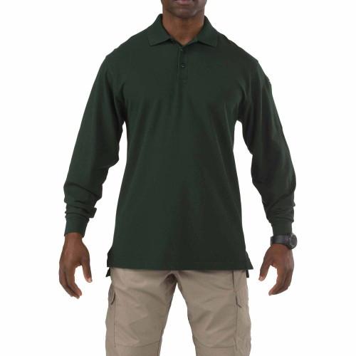 """Футболка Поло тактическая с длинным рукавом """"5.11 Tactical Professional Polo - Long Sleeve"""", [860] L.E. Green"""