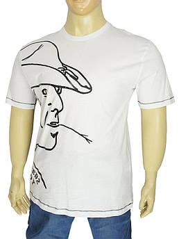 Біла чоловіча футболка з принтом в стилі D 09/B white у великому розмірі