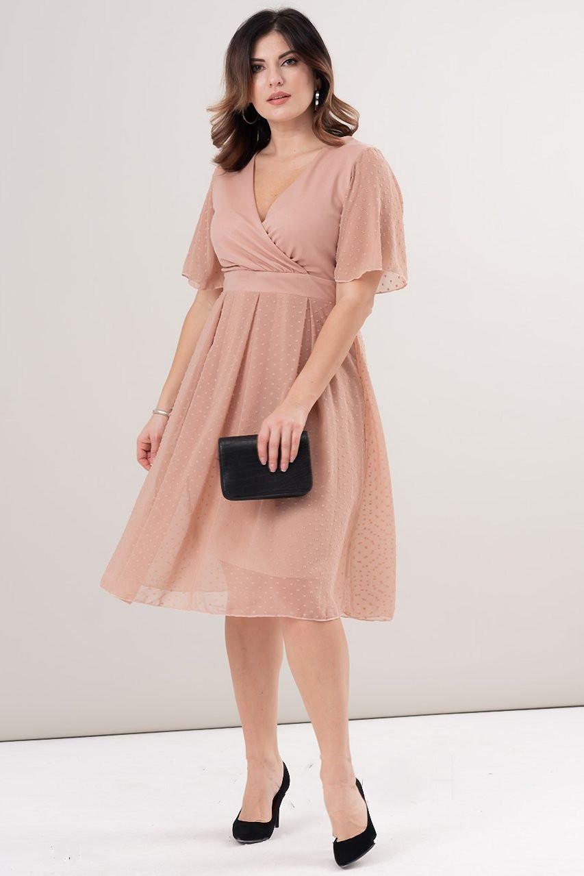 Шифоновое батальное платье Романтика-1 в мелкий горошек