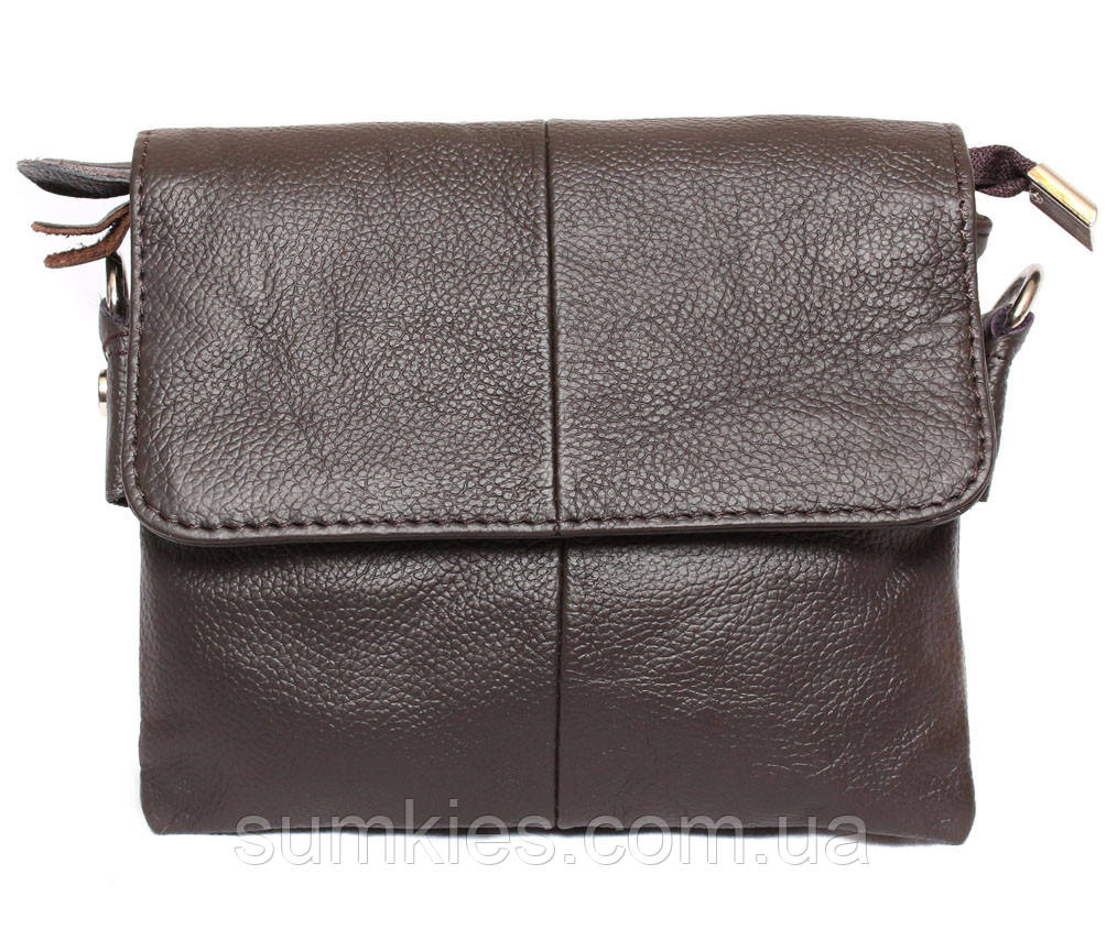 Горизонтальная кожаная сумка через плечо 300146