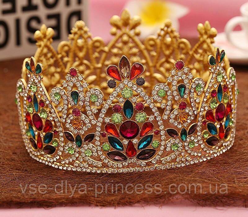 Круглая корона под золото с разноцветными камнями, диадема, тиара, высота 9 см.
