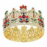 Круглая корона под золото с разноцветными камнями, диадема, тиара, высота 9 см., фото 2