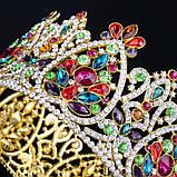 Круглая корона под золото с разноцветными камнями, диадема, тиара, высота 9 см., фото 5
