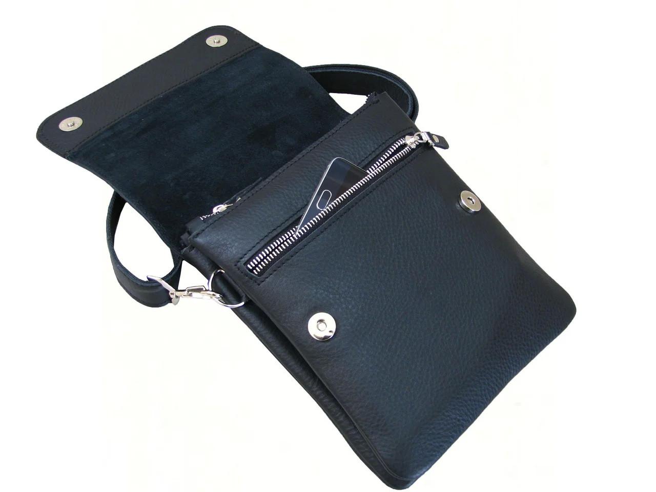 Кожаная мужская сумка из итальянской кожи GS черная