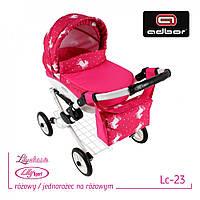 302 Кукольная коляска LILY TM Adbor (Lc23, розовый, единорожка на розовом)