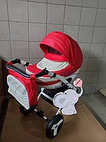 Детская коляска 2-в-1 Lumi (Люми эко-кожа) на пластиковой корзине d80 -красный