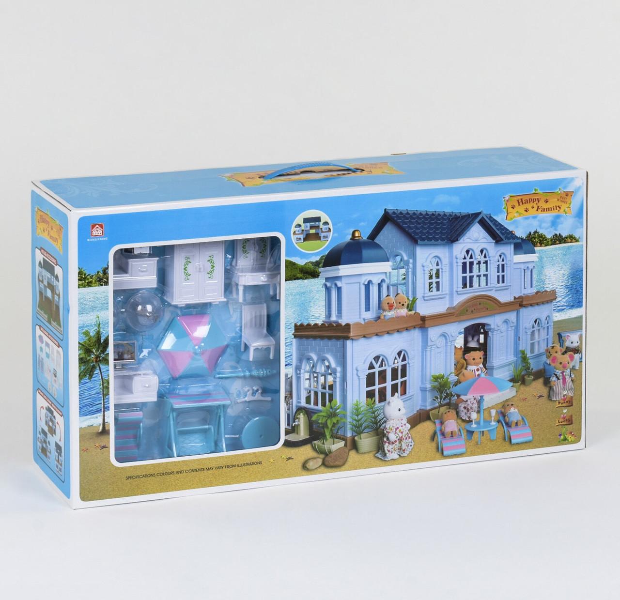 Будиночок Happy Family на морському березі аналог Sylvanian Families з меблями і світлом,2 фігурки
