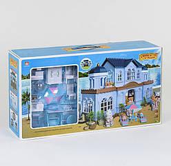 Домик Happy Family на морском берегу аналог Sylvanian Families с мебелью и светом,2 фигурки
