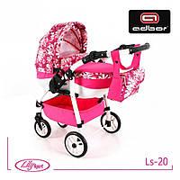 303 Кукольная коляска Lily SPORT TM Adbor  (Ls-20, розовый, цветы на малиновом)