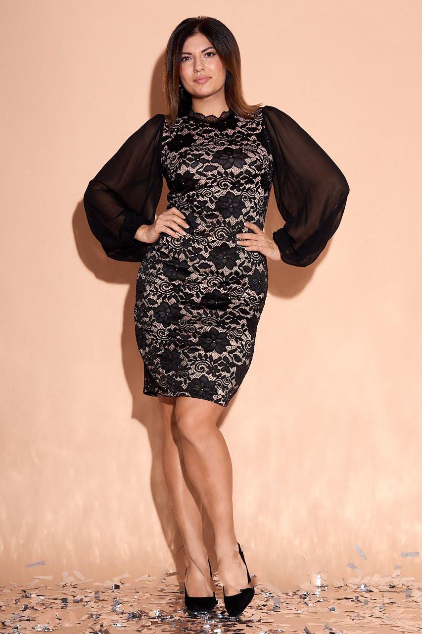 Батальное платье Аллюр с объёмными шифоновыми рукавами