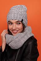 Женский, стильный, головной набор шапка и снуд - восьмерка, фото 1