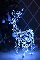Олень новогодний светодиодный 70 см Синий (Гирлянда внешняя Adenki)