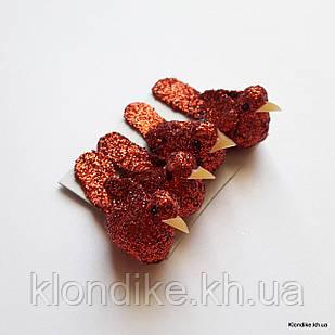 Птички декоративные в блёстках, пенопласт, 3.5×1.3 см, Цвет: Красный (4 шт./набор)