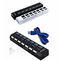 USB хаб разветвитель концентратор Switch на 7 портов,  внешний, 3.0, до 5 Gb/s, Хабы и картридеры, USB хабы на 7 портов, Usb hub, Хаб, Usb