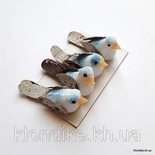 Птички декоративные, пенопласт, 3.5×1.3 см, Цвет: Белый + голубой (4 шт./набор)