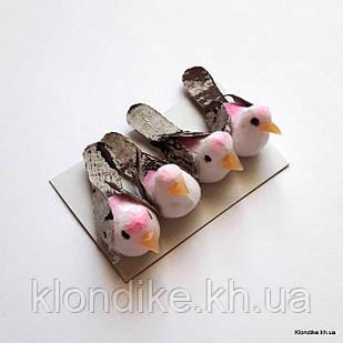 Птички декоративные, пенопласт, 3.5×1.3 см, Цвет: Белый + розовый (4 шт./набор)