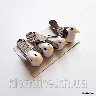 Птички декоративные, пенопласт, 3.5×1.3 см, Цвет: Белый (4 шт./набор)