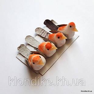 Птички декоративные, пенопласт, 3.5×1.3 см, Цвет: Белый + оранжевый (4 шт./набор)
