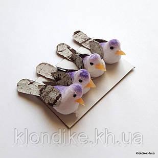 Птички декоративные, пенопласт, 3.5×1.3 см, Цвет: Белый + фиолетовый (4 шт./набор)