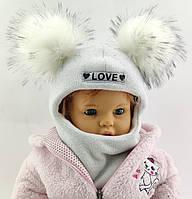 Оптом шапка детская 48 50 и 52 размер шлем ангора шапки головные уборы детские опт, фото 1
