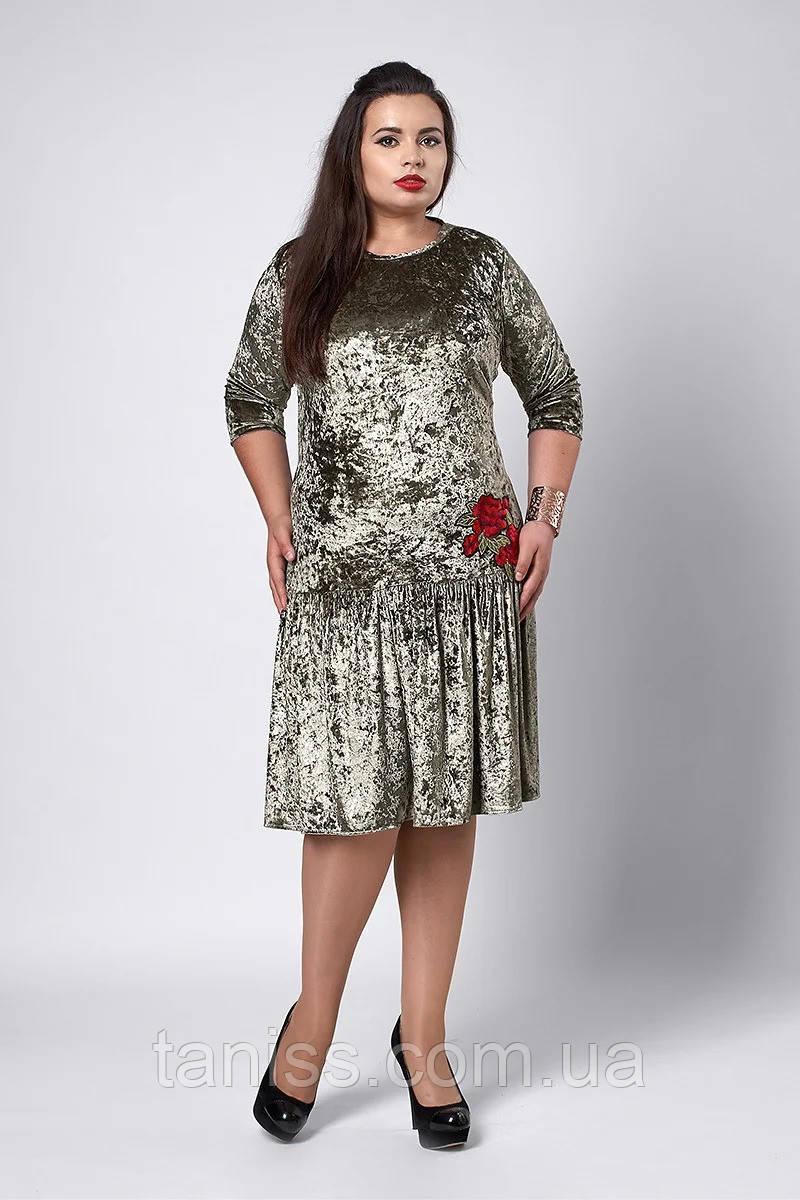 Нарядное женское платье большого размера, ткань велюр-бархат, вышивка розы, р.52,54,56 оливка (528) сукня