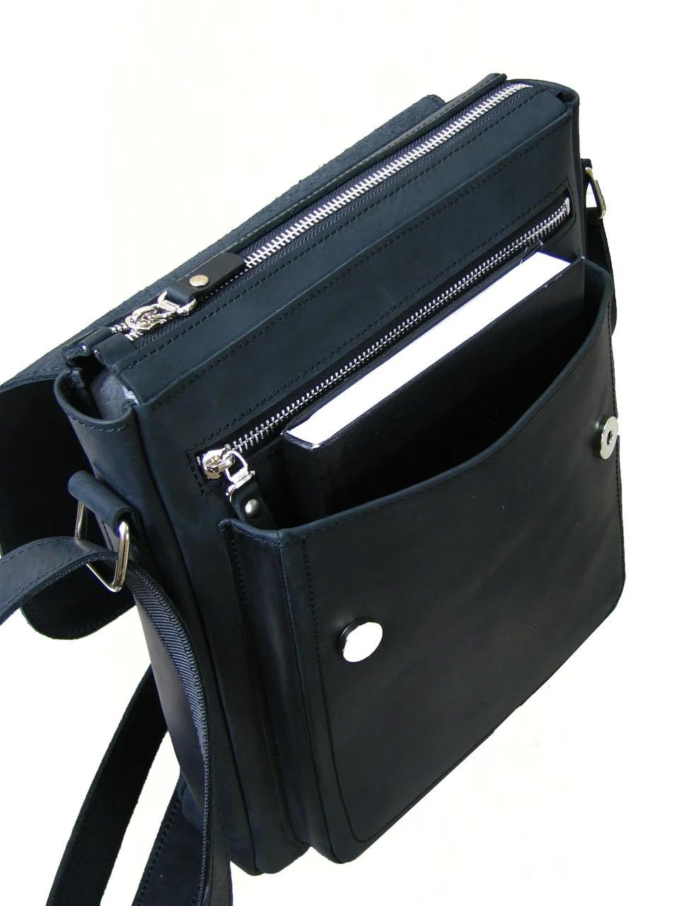 Мужская вместительная сумка GS кожаная черная