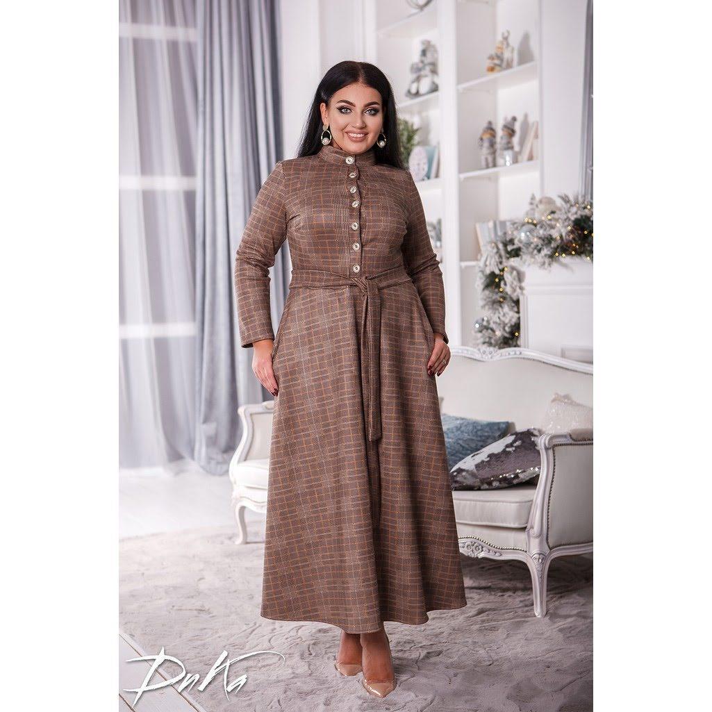 Платье  БАТАЛ клетка 04ак0539
