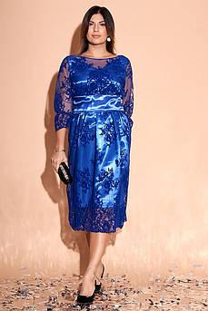 Батальное атласное красивое платье Изабэль с роскошной сеткой в цветы