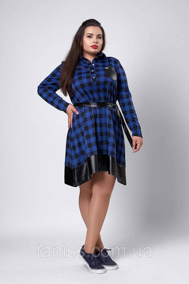 Молодіжне плаття-сорочка в клітку великого розміру, пояс під шкіру, р 52 синій (532) сукня